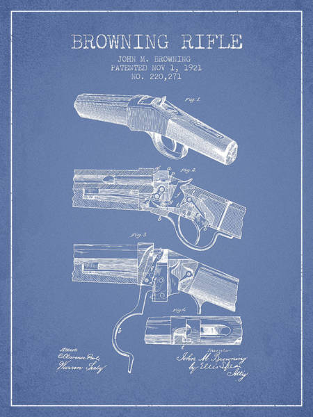 Shooting Digital Art - Browning Rifle Patent Drawing From 1921 - Light Blue by Aged Pixel