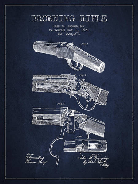 Shooting Digital Art - Browning Rifle Patent Drawing From 1921 - Navy Blue by Aged Pixel