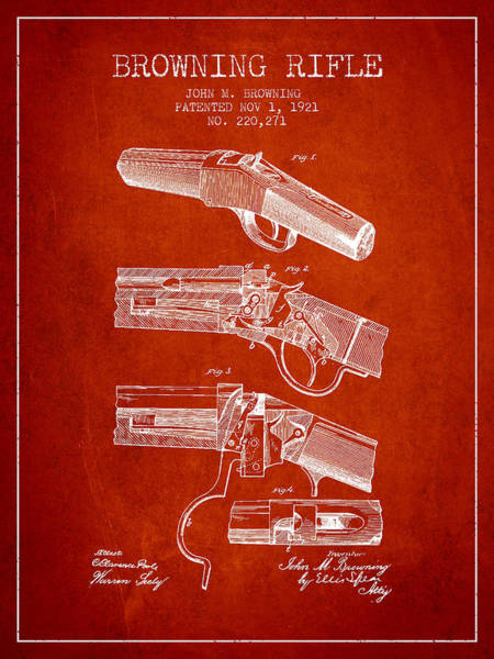 Weapons Digital Art - Browning Rifle Patent Drawing From 1921 - Red by Aged Pixel