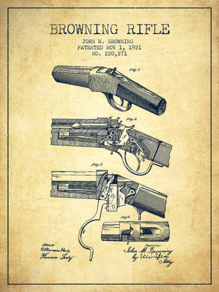 Antique Firearms Wall Art - Digital Art - Browning Rifle Patent Drawing From 1921 - Vintage by Aged Pixel