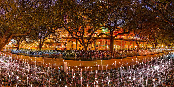 The Maid Photograph - Bruce Munro Field Of Lights Panorama At Discovery Green Park - Downtown Houston Texas by Silvio Ligutti