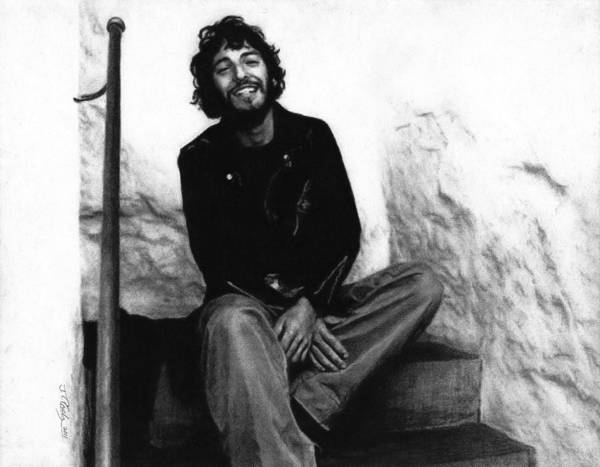 Wall Art - Drawing - Bruce Springsteen 1975 by Justin Clark
