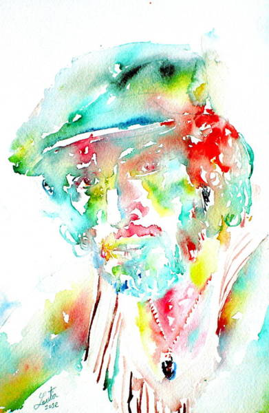 Psychedelic Image Painting - Bruce Springsteen Watercolor Portrait by Fabrizio Cassetta