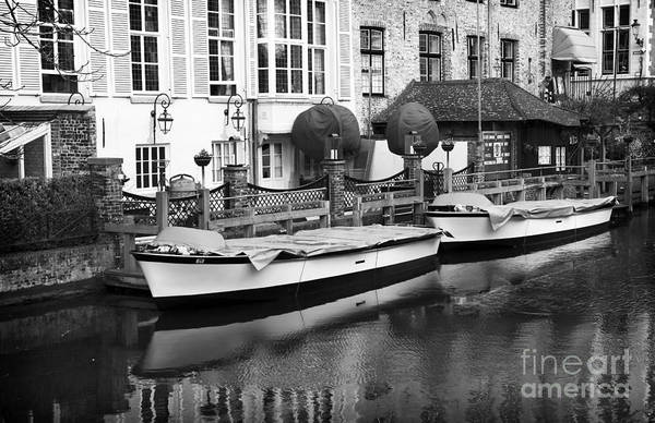 Wall Art - Photograph - Bruges Canal Boats by John Rizzuto
