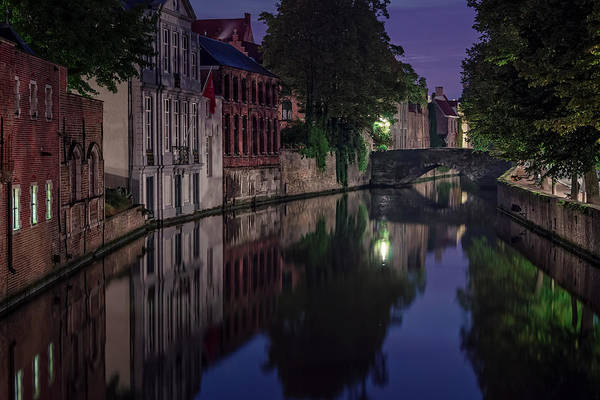 Photograph - Bruges Canal Near Blind Donkey Alley  by Joan Carroll
