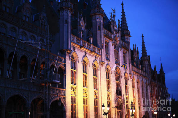 Photograph - Bruges City Hall At Night by John Rizzuto