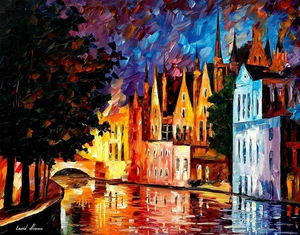 Magic Realism Painting - Bruges - Northern Venice by Leonid Afremov