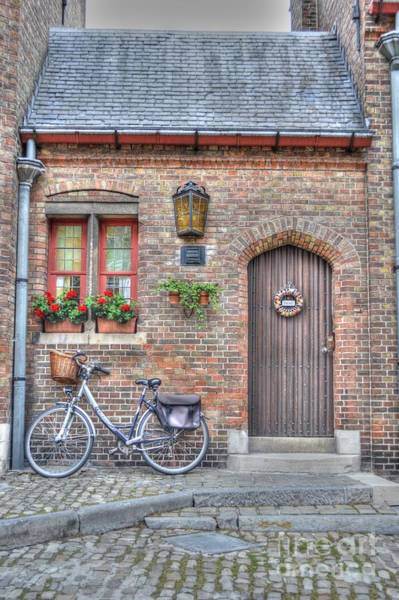 Wall Art - Photograph - Brugge Door Front With Bicycle by Linda Covino