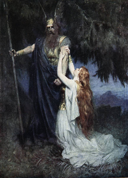Mercy Wall Art - Drawing - Brunhilde Knelt At His Feet, From The by Ferdinand Leeke