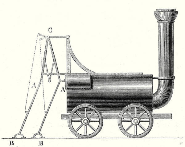 Wall Art - Drawing - Bruntons Locomotive With Crutches by English School