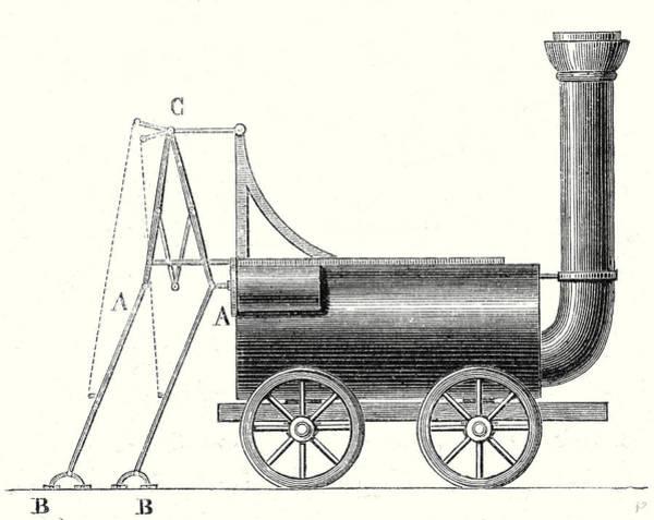 Locomotive Drawing - Bruntons Locomotive With Crutches by English School