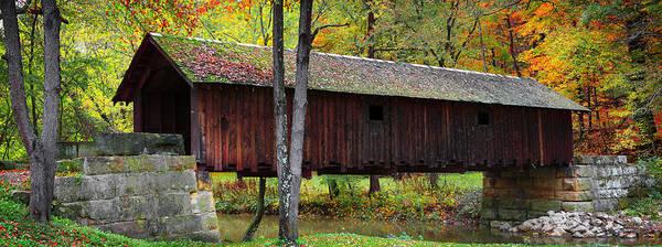Photograph - brush creek cover bridge  Pano by Emmanuel Panagiotakis