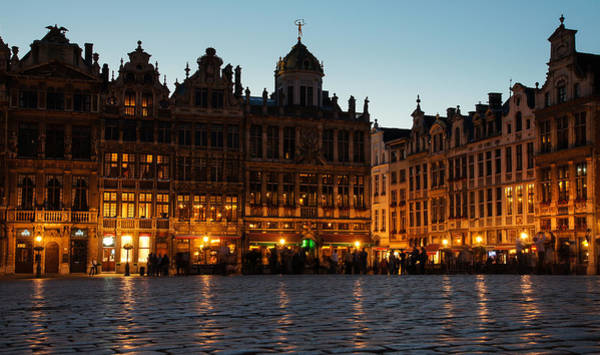 Photograph - Brussels - Grand Place Facades Golden Glow by Georgia Mizuleva