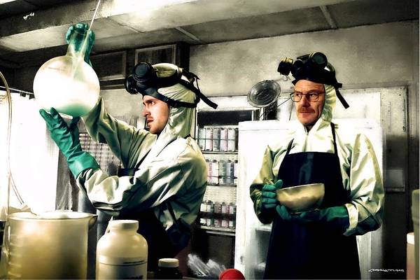 Bryan Cranston As Walter White And Aaron Paul As Jesse Pinkman Cooking Metha @ Tv Serie Breaking Bad Art Print