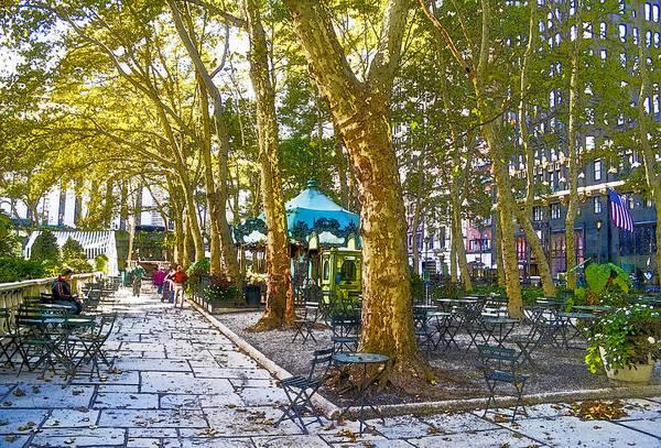 Midtown Manhattan Digital Art - Bryant Park October by Liz Leyden