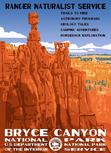Prarie Photograph - Bryce Canyon National Park Vintage Poster 2 by Eric Glaser