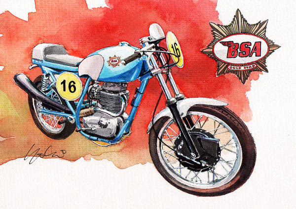 Racers Painting - Bsa Gold Star by Yoshiharu Miyakawa