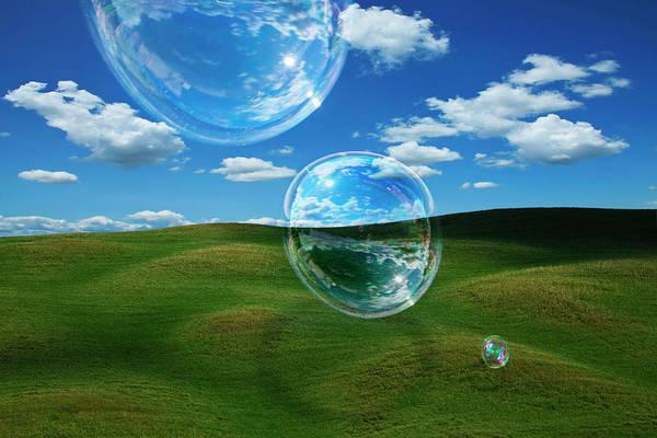 Bubble Photograph - Bubble Float Across A Tuscan Landscape by Andrew Bret Wallis