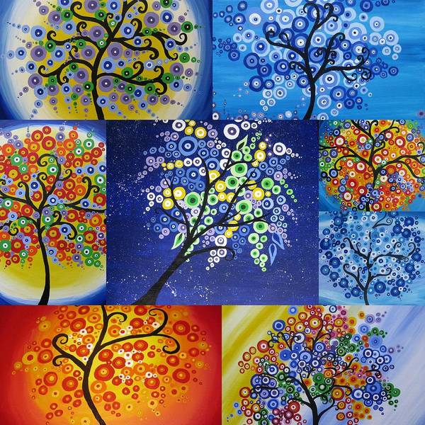 Cathy Painting - Bubble Trees by Cathy Jacobs