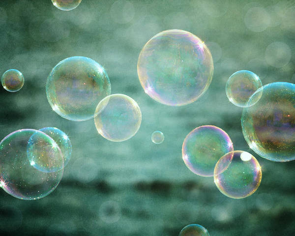 Bathroom Wall Art - Photograph - Bubbles In Teal And Pink by Lisa Russo