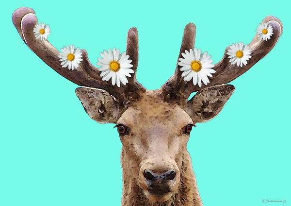 Upbeat Painting - Buck Deer Art - Dont Shoot by Sharon Cummings