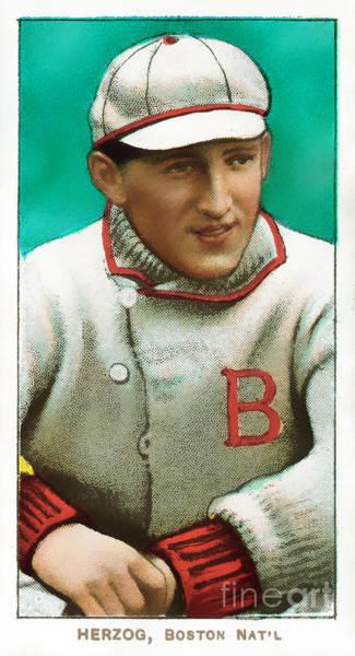 Photograph - Buck Herzog Boston Braves Baseball Card 0500 by Wingsdomain Art and Photography