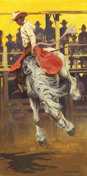 Wall Art - Painting - Bucking Rodeo Horse by Don  Langeneckert