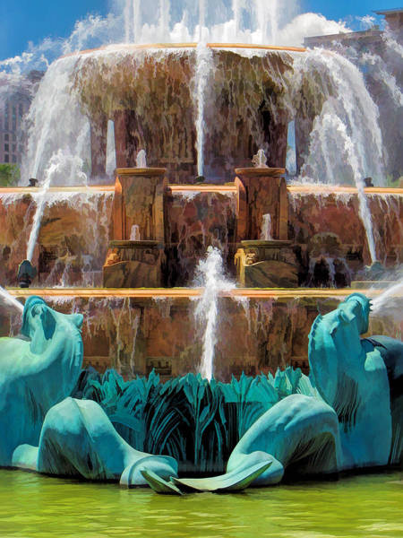 Painting - Chicago Buckingham Fountain Closeup by Christopher Arndt