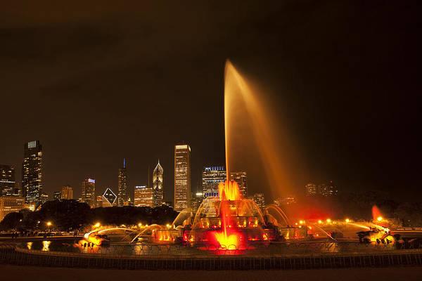 Chicago Skyline Art Photograph - Buckingham Fountain Illuminated by Andrew Soundarajan