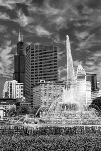 Photograph - Buckingham Fountain Sears Tower Black And White by Christopher Arndt