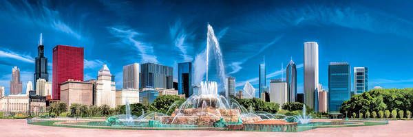 Painting - Chicago Buckingham Fountain Skyline Panorama by Christopher Arndt