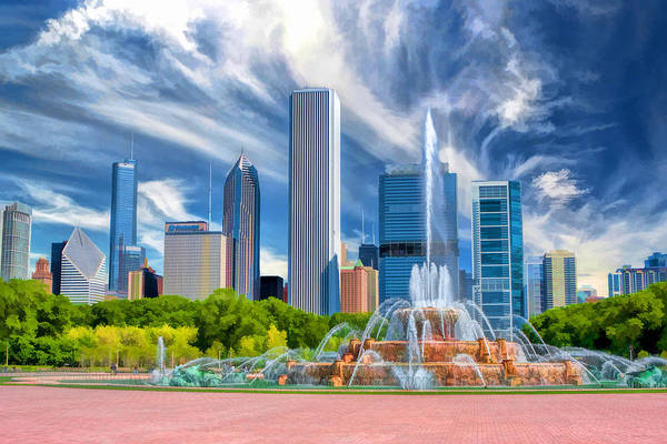 Photograph - Buckingham Fountain Chicago Skyscrapers by Christopher Arndt