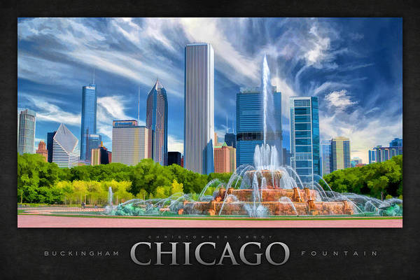 Painting - Buckingham Fountain Skyscrapers Poster by Christopher Arndt