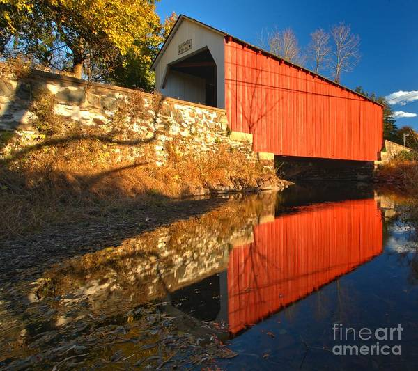 Photograph - Bucks County 1871 Covered Bridge by Adam Jewell