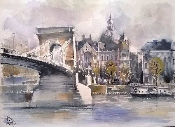 Painting - Budapest Chain Bridge by Lorand Sipos