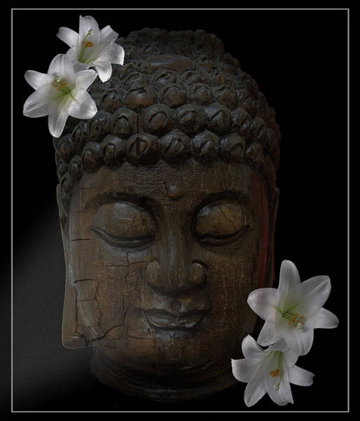 Gautama Photograph - Buddha Adorned With Asian Lilies by Daniel Hagerman