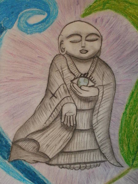 Drawing - Buddha And The Eye Of The World by Thomasina Durkay
