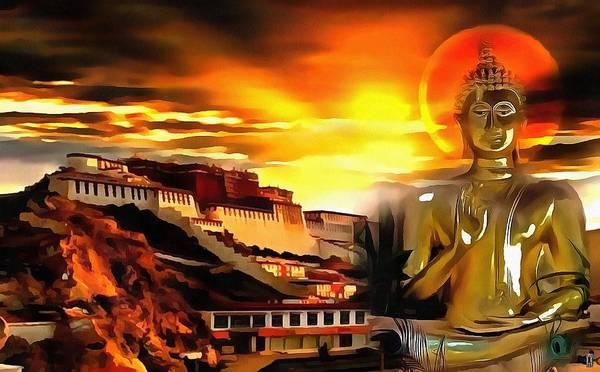 Gautama Digital Art - Buddha And The Palace by Mario Carini