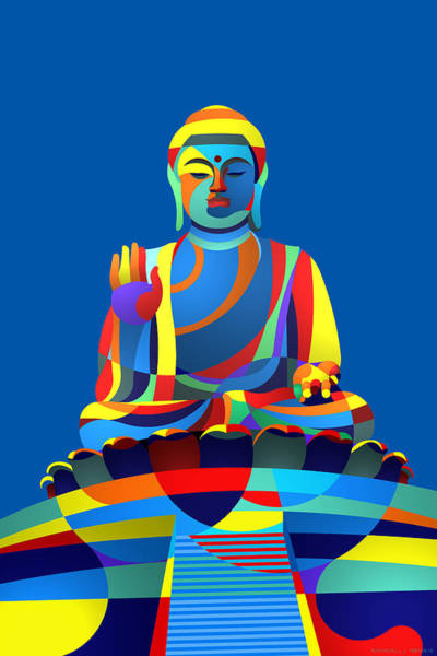 Digital Art - Buddha Blue by Randall Henrie
