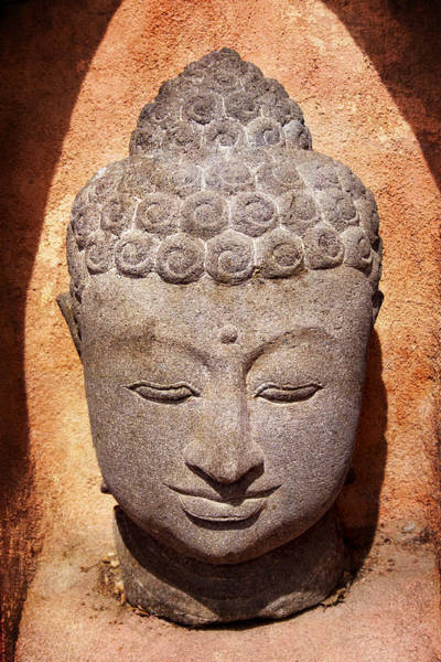 Stone Carving Wall Art - Photograph - Buddha In Light And Shadow by Carol Leigh