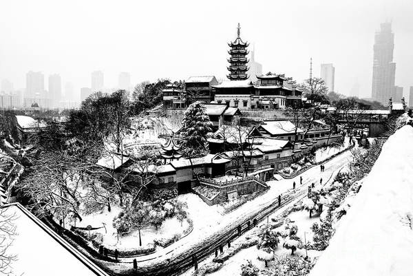 Wall Art - Photograph - Buddha - Jiming Temple In The Snow - Black-and-white Version  by Dean Harte