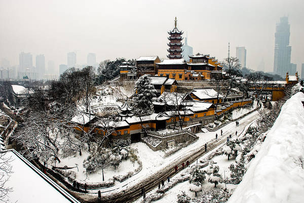 Buddhist Temple Wall Art - Photograph - Buddha - Jiming Temple In The Snow - Colour Version  by Dean Harte