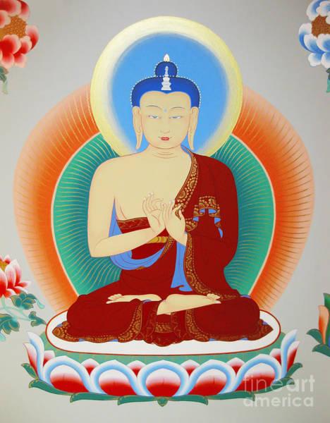 Thangka Painting - Buddha Maitreya by Sergey Noskov