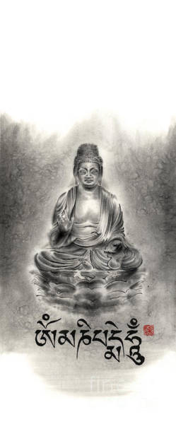 Chinese Buddha Painting - Buddha Mantras Mantra Buddhist Sumi-e Tibetan Calligraphy Original Ink Painting Artwork by Mariusz Szmerdt