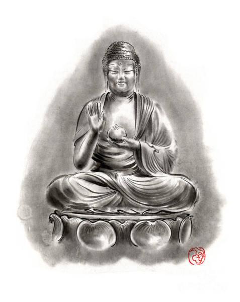 Sumi Wall Art - Painting - Buddha Medicine Buddhist Sumi-e Tibetan Calligraphy Original Ink Painting Artwork by Mariusz Szmerdt
