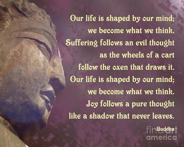 What Is Life Digital Art - Buddha Mind Shapes Life by Ginny Gaura