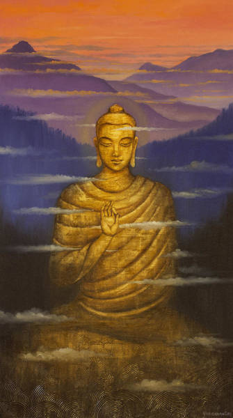 Zen Buddhism Painting - Buddha. Passing Clouds by Vrindavan Das