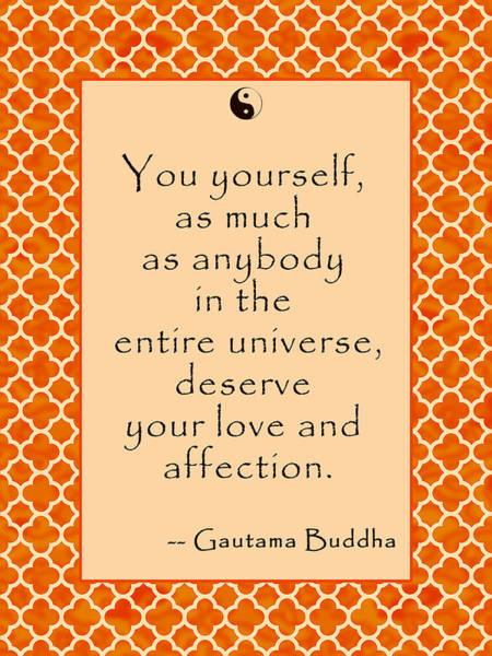 Gautama Digital Art - Buddha Quote Love And Affection by Scarebaby Design