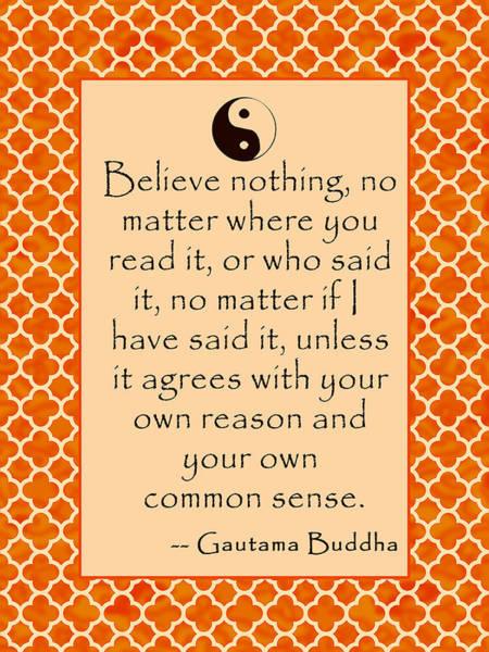 Gautama Digital Art - Buddha Quote Poster In Sunrise Colors by Scarebaby Design
