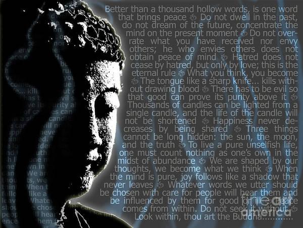 Digital Art - Buddha Quotes by Sassan Filsoof